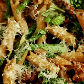 Solo Suppers Beyond Cereal: Sausage and Broccolini Pasta